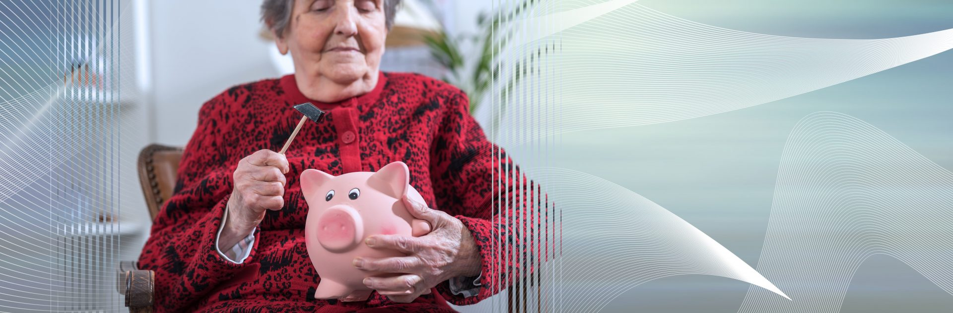 Woman Cracking Open Piggy Bank full of retirement savings
