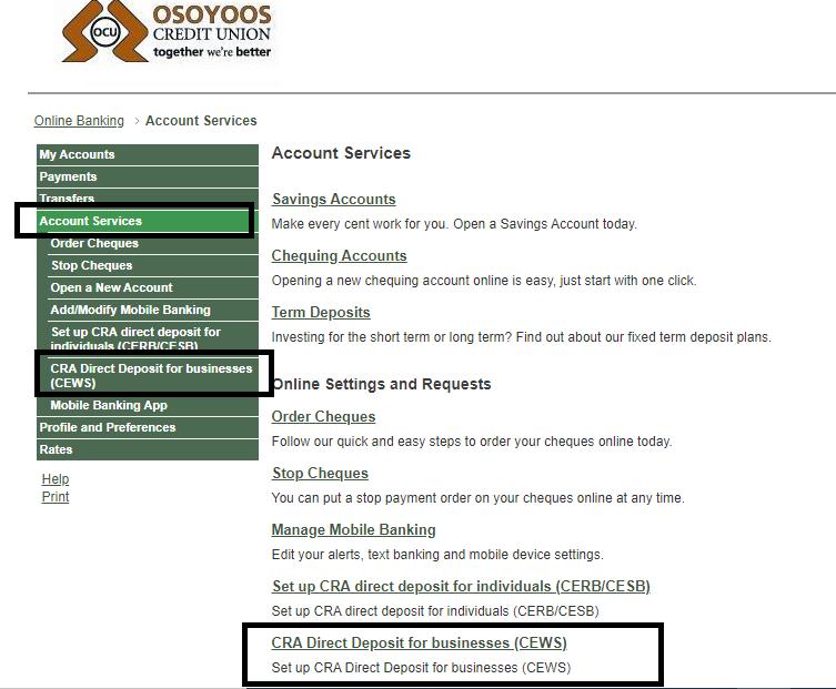 Screenshot showing how to apply for CEWS on OCU Member Direct Platform